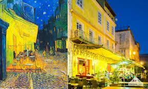 vincent van gogh real life painting cafe terrace at night café terrasse sur la place