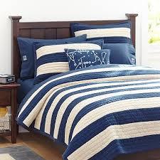 14 best Ryan Bedding images on Pinterest | Beach, Bedroom ideas ... & Rugby Stripe Quilt + Sham, Navy/Stone #pbteen Adamdwight.com