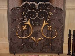 Hand Crafted Custom French Design Wrought Iron Fireplace Screen By