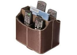 remote control organizer storage holder caddy leather tv
