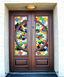 ed stained glass french doors patio