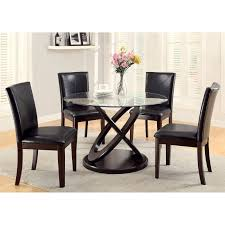 furniture of america ollivander 5 piece glass top dining table set dark walnut hayneedle