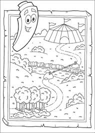 Dora The Explorer Map And Backpack Coloring Pages Hellokids Dora Map