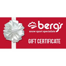 Holiday Gift Certificate Bergs Ski And Snowboard Shop Holiday Gift Certificate