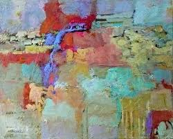 contemporary abstract painting divided highway 11026 by texas daily painter nancy standlee