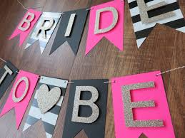 Kate Spade Party - Theme - Bride to Be Banner - Pink, Gold, Black