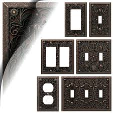 wall switch plate cover filigree aged bronze toggle rocker metal amerelle plates chelsea brushed nickel