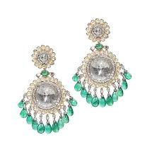 golecha chandelier earrings featuring emeralds pearls and diamonds