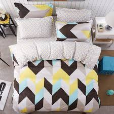 bed sheets set black white yellow blue zig zag chevron pattern 1 flat sheet 1 duvet cover and 2 pillow cases queen size comforter sets on duvets sets