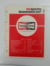 1969 Champion Spark Plug Recommendation Chart
