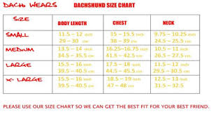 Dachshund Size Chart Size Chart On How To Measure Your Dachshund Dachshund