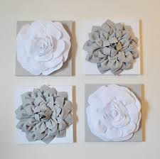 impressive white flower wall decor simple design set of four gray and hangings 12 x12 canvases