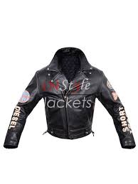 sel vintage biker patches black leather jacket