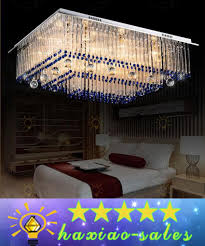 modern brilliant led dimmable chandelier ceiling light luxurious decoration crystal pendants lamp transpa crystal glass rod blue pendant lighting