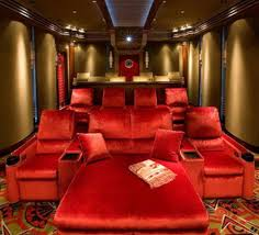red theater chairs. Amusing Home Theater Room Design Decorating Ideas With Red Sofa And Reed Interior Theme Some Chairs N