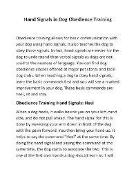 Dog Training Hand Signals Pdf