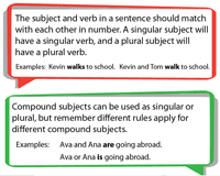 Singular And Plural Verbs Chart Subject Verb Agreement Worksheets With Examples
