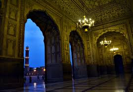 file the beautiful interior view with amazing mughal wall art enlightened by yellow light