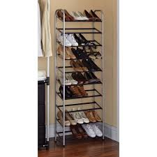 rack. mainstays 10 tier shoe rack black and silver