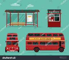 side view office set. flat style concept of public transport set city bus with front and side view office h