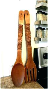 large wooden spoon and fork fork and spoon decoration spoon fork wall decor retro large wooden