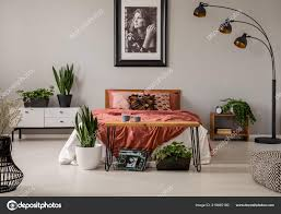 Pflanzen Und Lampe Grau Schlafzimmer Innenraum Mit Poster Der Wand