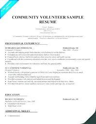 Volunteer Resume Template Community Service Position List