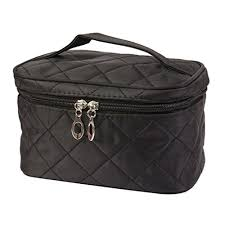 dzt1968 large cosmetic bag travel makeup organizer case holder with mirror black