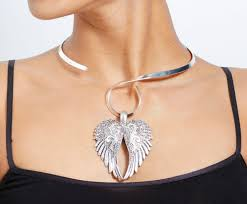 new burnished silver crystal angel wings on silver swirl neckwire necklace