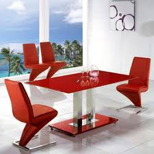 Red Dining Room Chairs Unique Z Shaped Red Chairs With Tempered Glass Table For Modern