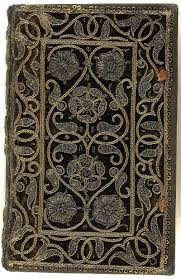 16th century embroidered velvet book with scroll and fl pattern