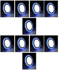Double Color Led Panel Light 12 4 Watt Double Color Round Led Panel Light Side 3d Effect Light White Blue Pack Of 10
