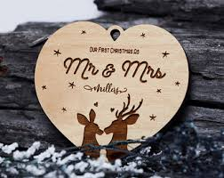 Hand Stamped Personalized Christmas Ornaments And Keepsakes Our First Christmas Tree
