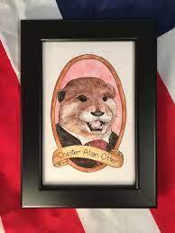 Chester Alan Otter / Animal Pun Illustration / Watercolor &   Etsy