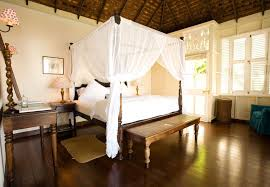 romantic master bedroom with canopy bed. Bedroom:Large Romantic Master Bedroom Decor With White Canopy Curtains Plus Simple Bench Also Blue Bed