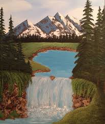 mountain painting waterfall painting 16x20 pine tree painting landscape painting mountains waterfall canvas art