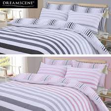 dreamscene stripe duvet cover with pillowcase bedding set fade grey pink black
