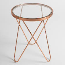 Rose Gold Tomlin Accent Table with Glass Top | Hairpin table, Mid ...