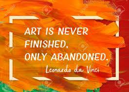 Lart Est Jamais Fini Abandonné Seulement Ancien Artiste Italien Leonardo Da Vinci Citation Imprimée Sur Toile Peinte