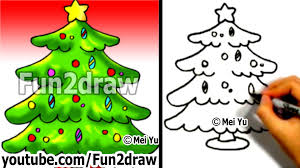 How to Draw a Christmas tree in 1 min - How to Draw Easy Drawings -  Fun2draw - YouTube