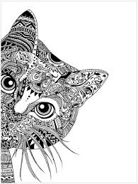 Small Picture pages cat head Animals Coloring pages for adults JustColor