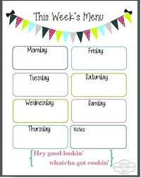 one week menu planner weekly menu template world of printable and chart