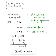 solving systems of equations by elimination homework for kids