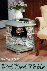 repurpose furniture dog. a blogger buys worn table at moving sale she takes it home removes the doors and omg repurpose furniture dog