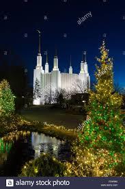Mormon Tabernacle Washington Dc Christmas Lights Mormon Temple In Washington Dc With Xmas Lights Stock Photo