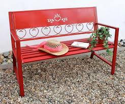 Dandibo Bank Passion Gartenbank Rot 121495 Sitzbank 120cm Metall Eisen Blumenbank Garten