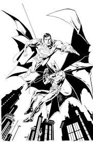 Batman Superman Flying Coloring Pages Action