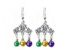 mardi gras color pearl chandelier hook earrings