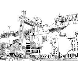 Desenho à nanquim - Elevador Lacerda - Bahia... | Ilustrações de desenhos  animados, Desenho, Imagens de paris