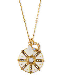sequin compass talisman pendant necklace w white enamel